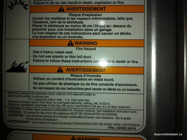 dryer warning label