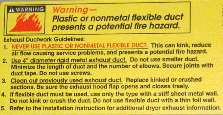 warning label on dryer vent