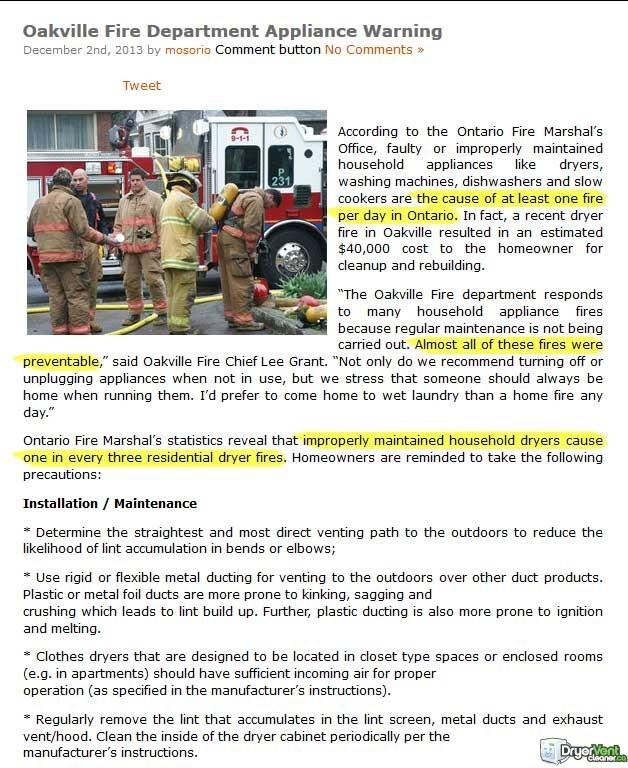dryer fire oakville canada stats